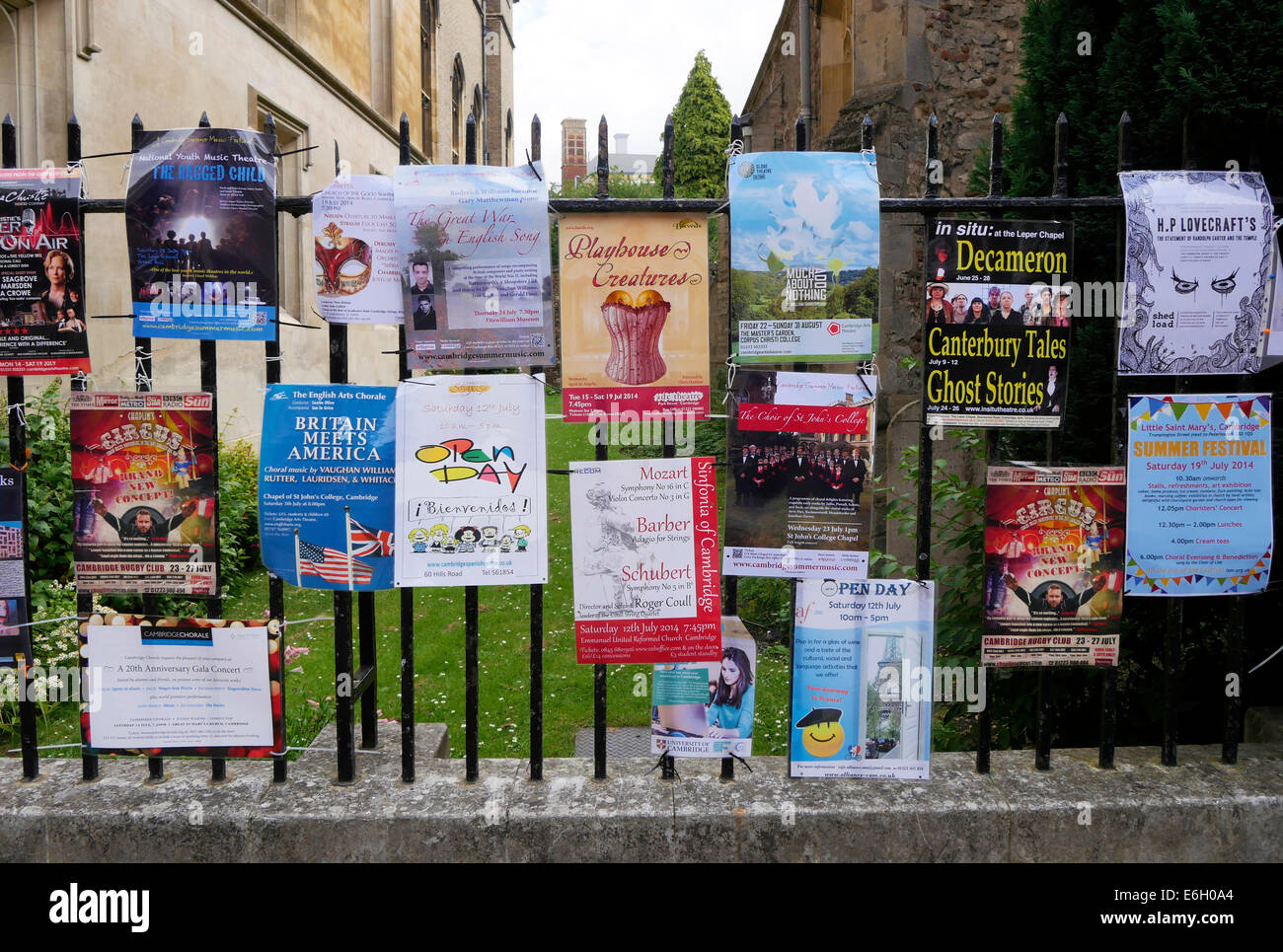 Posters showing Cambridge University events, July 2014, Boltoph Lane, Cambridge England - Stock Image
