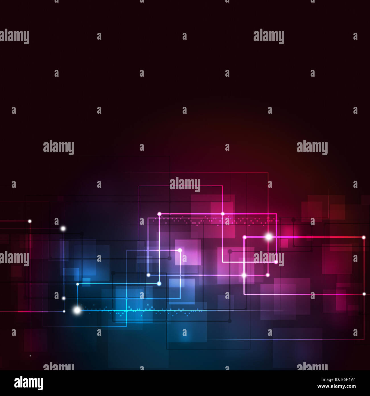 abstract technology lines on the dark red and blue background Stock Photo