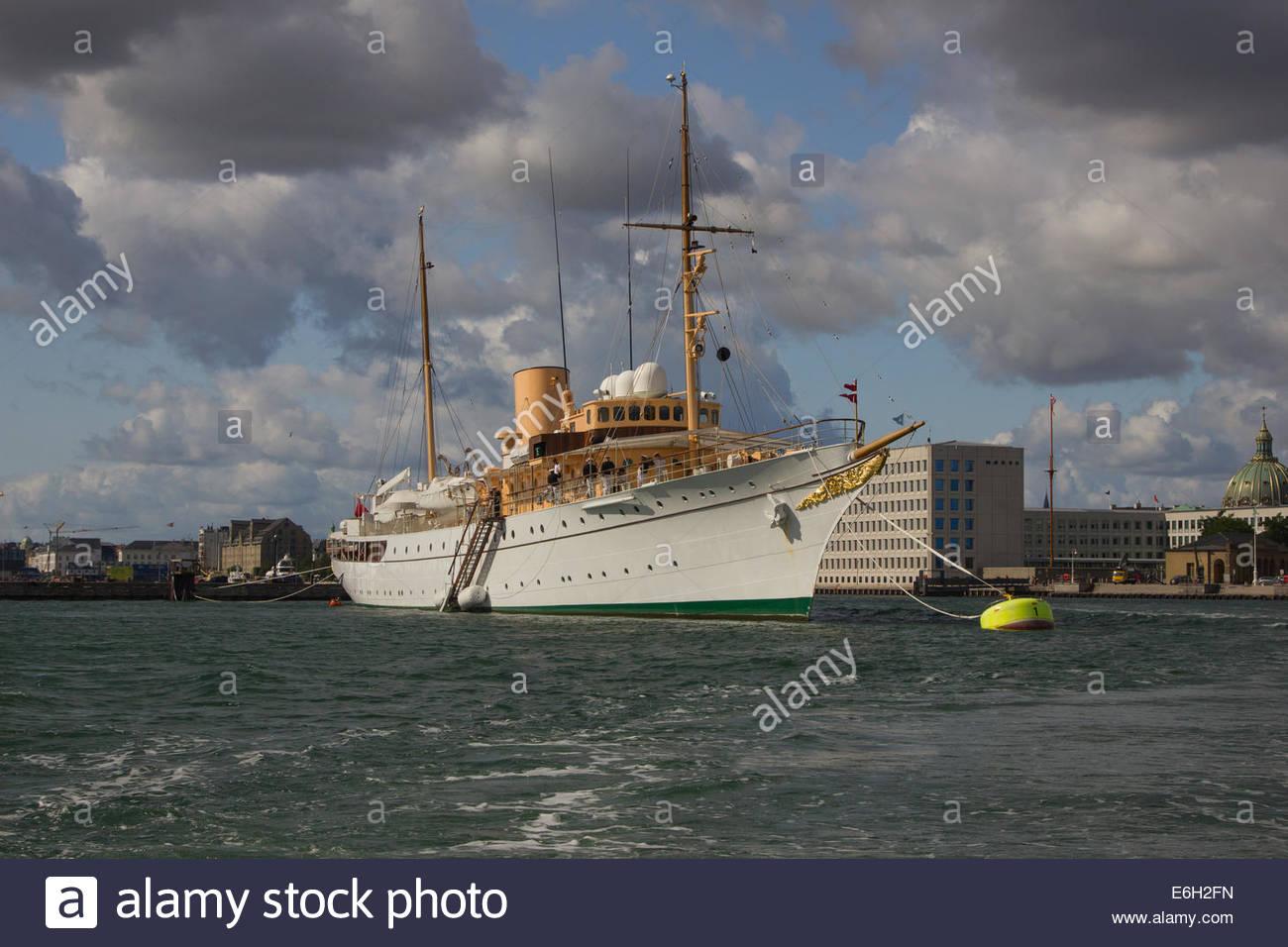 The Danish Royal Yacht (HDMY Dannebrog) moored in Copenhagen Harbour. - Stock Image