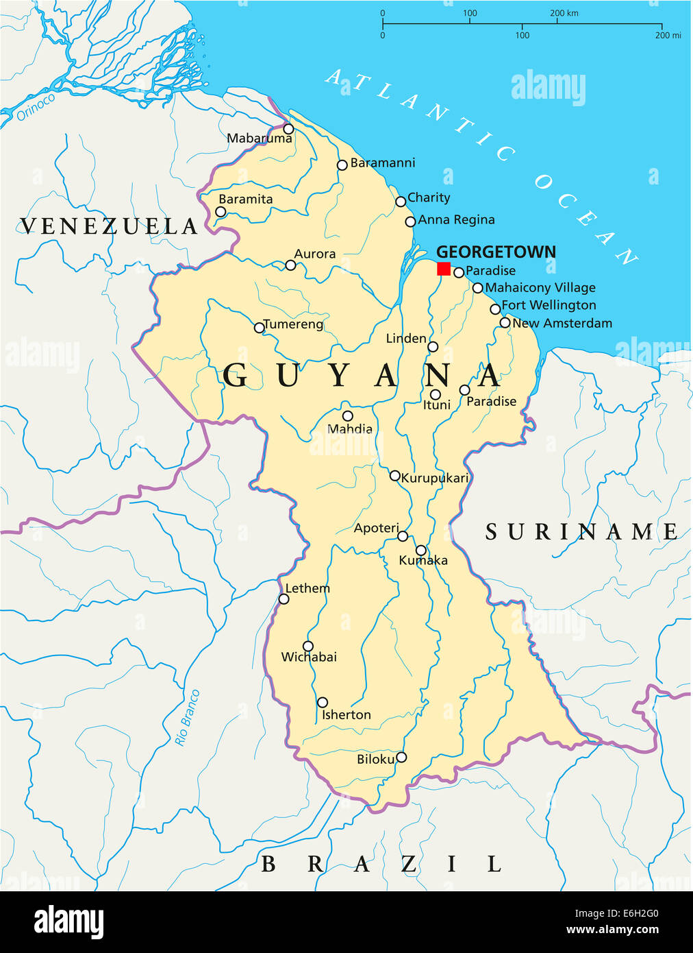 Guyana Political Map with capital Georgetown national borders most