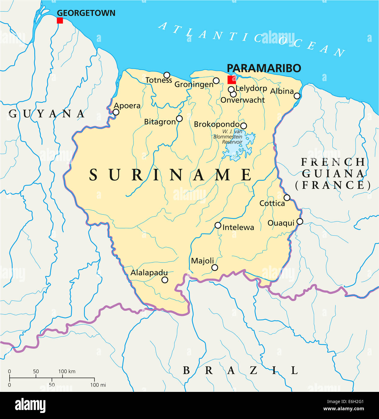Suriname Political Map with capital Paramaribo national borders