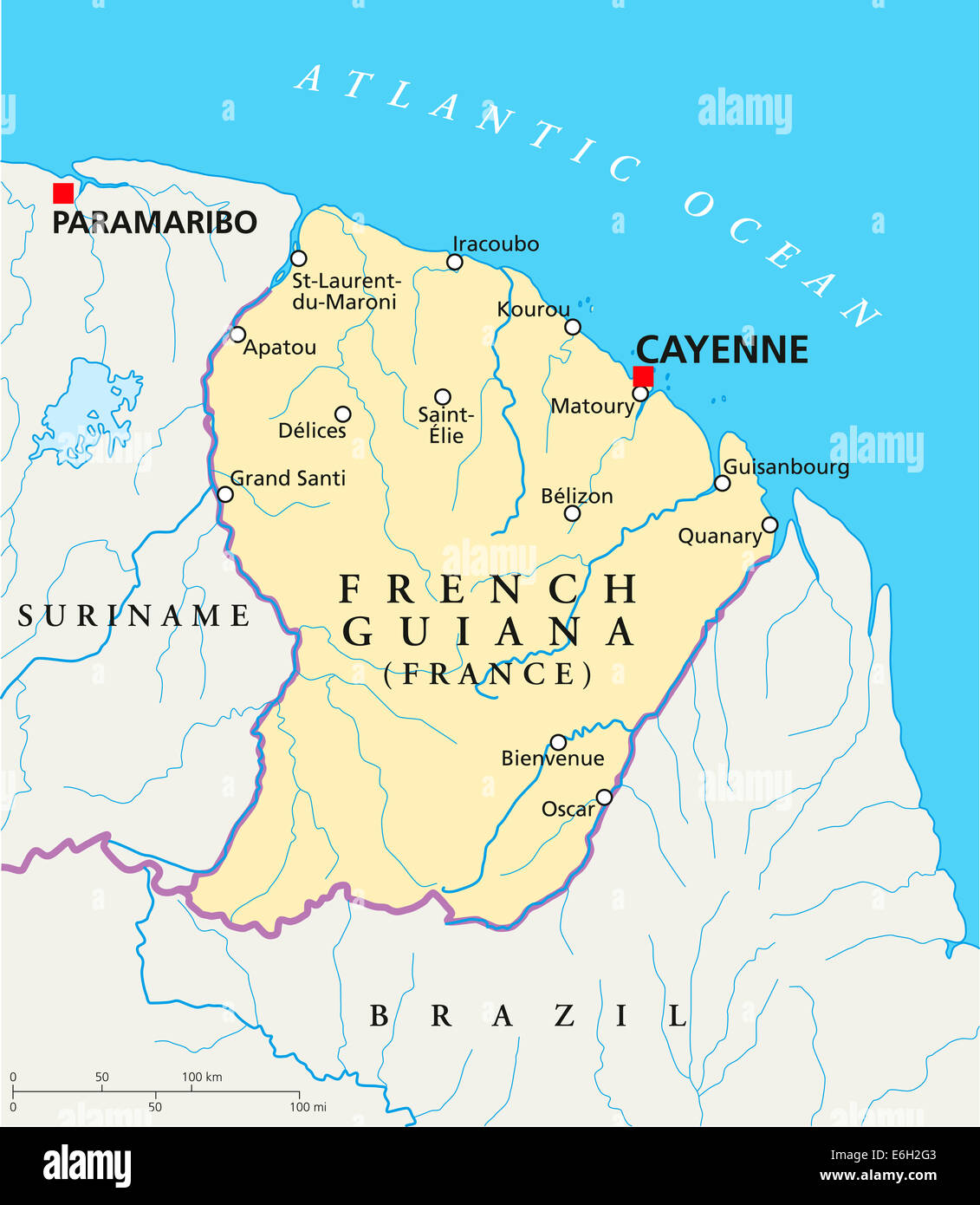 French Guiana Political Map with capital Cayenne national borders