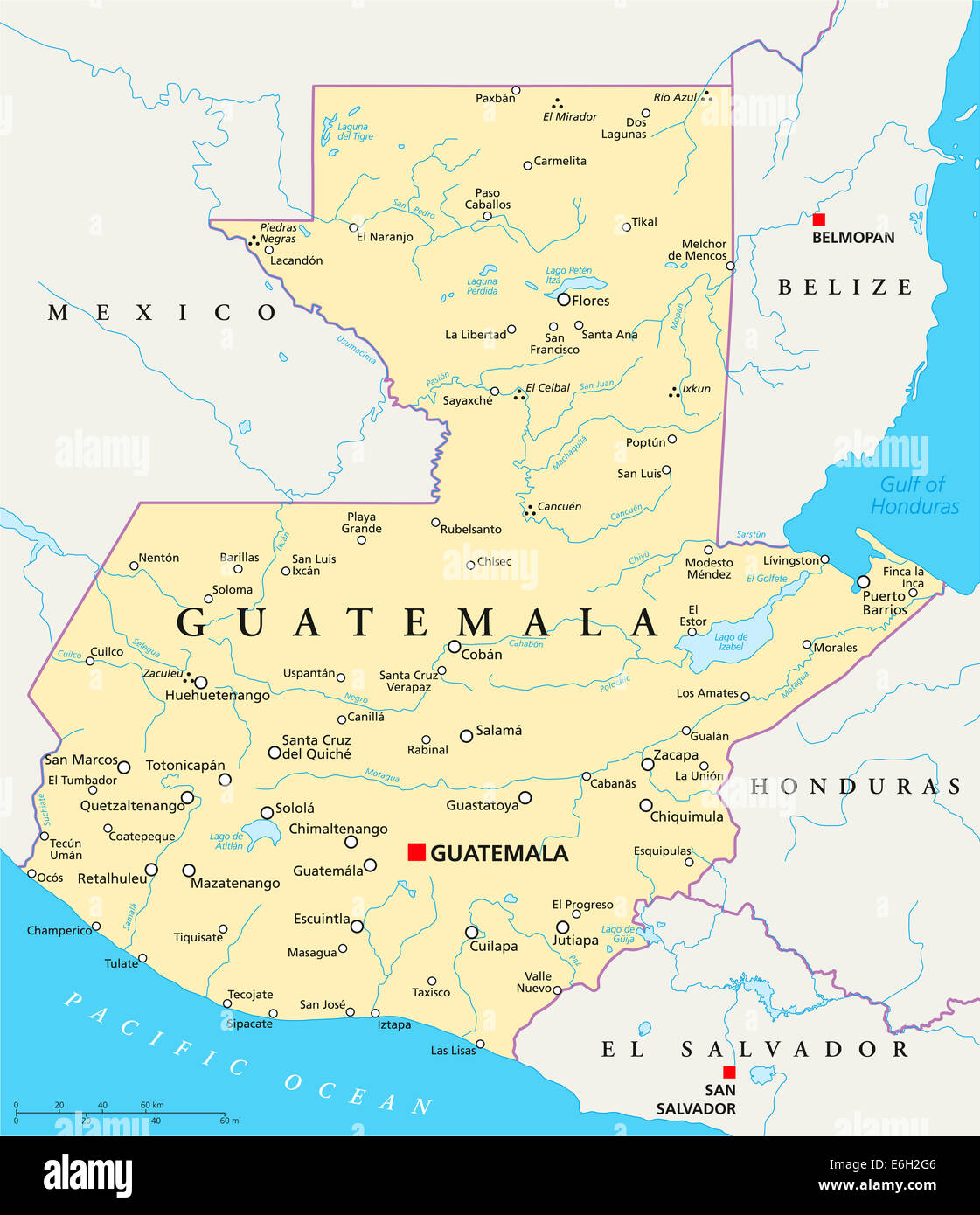Guatemala Political Map with capital Guatemala City, national Stock ...