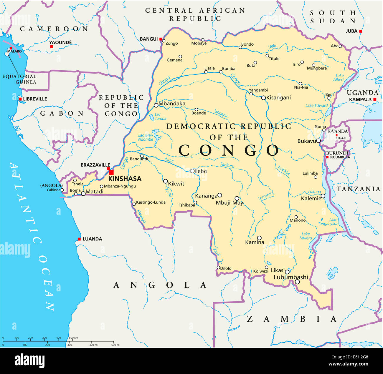 Congo Democratic Republic Political Map with capital Kinshasa, national borders, most important cities, rivers and - Stock Image