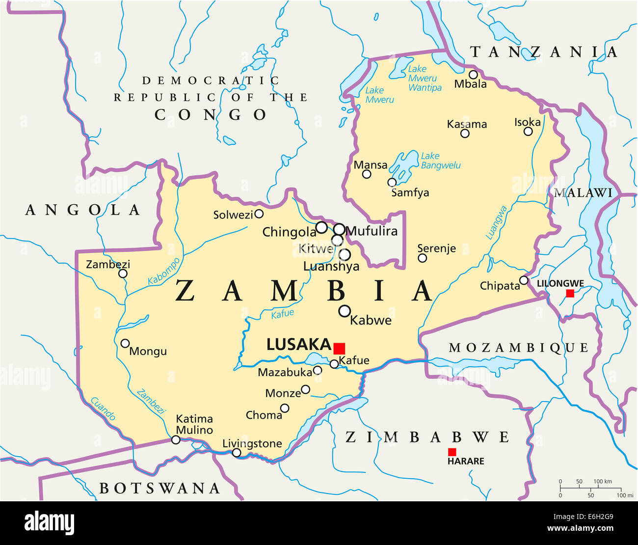 Zambia Political Map with capital Lusaka, national borders, most