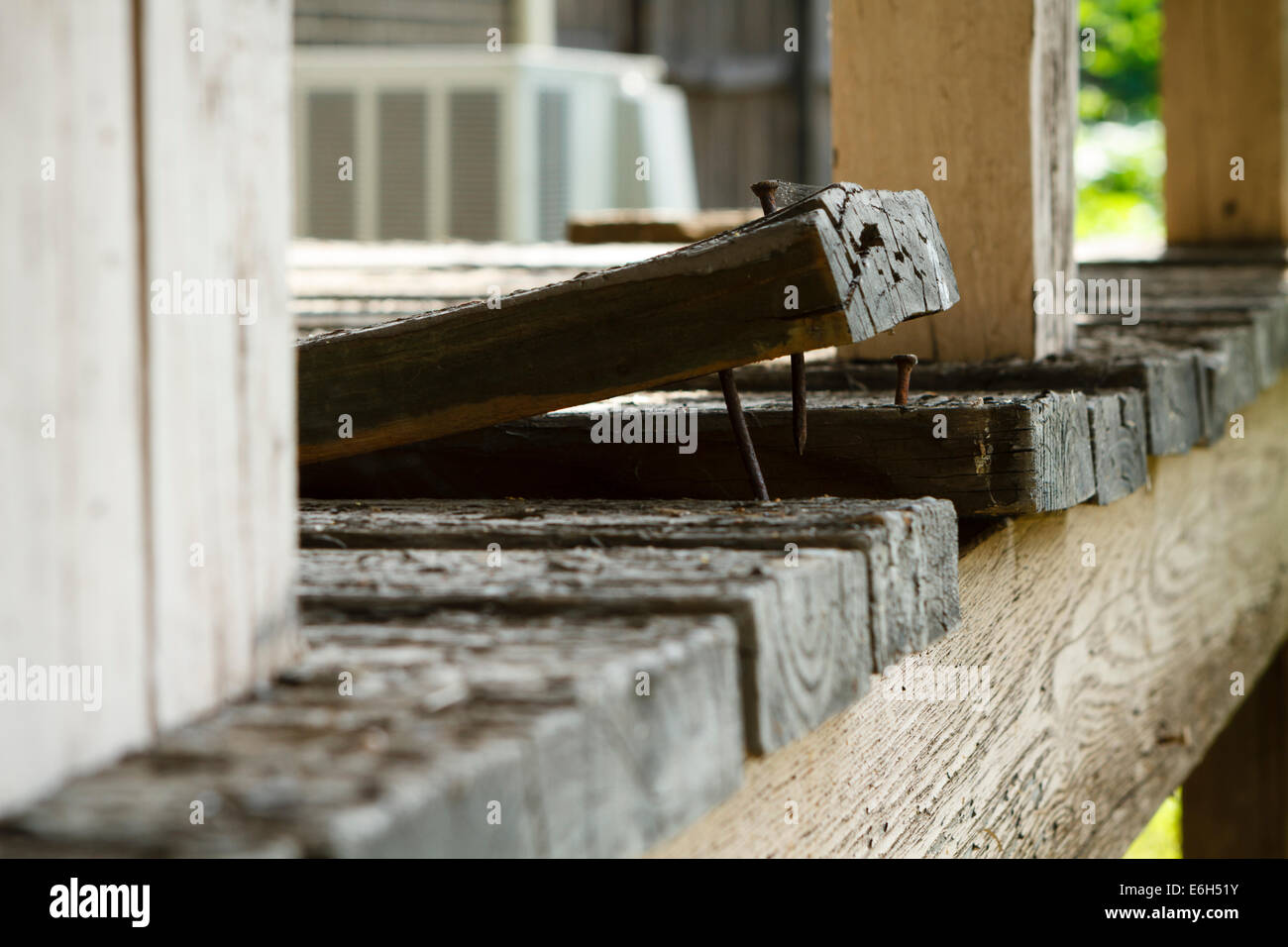 Shallow focus on an residential house deck board plank that has warped and is curling up from exposure to the elements - Stock Image