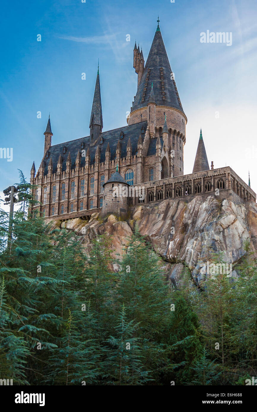 Hogwarts Castle in The Wizarding World of Harry Potter at Universal Studios Islands of Adventure in Orlando, Florida - Stock Image