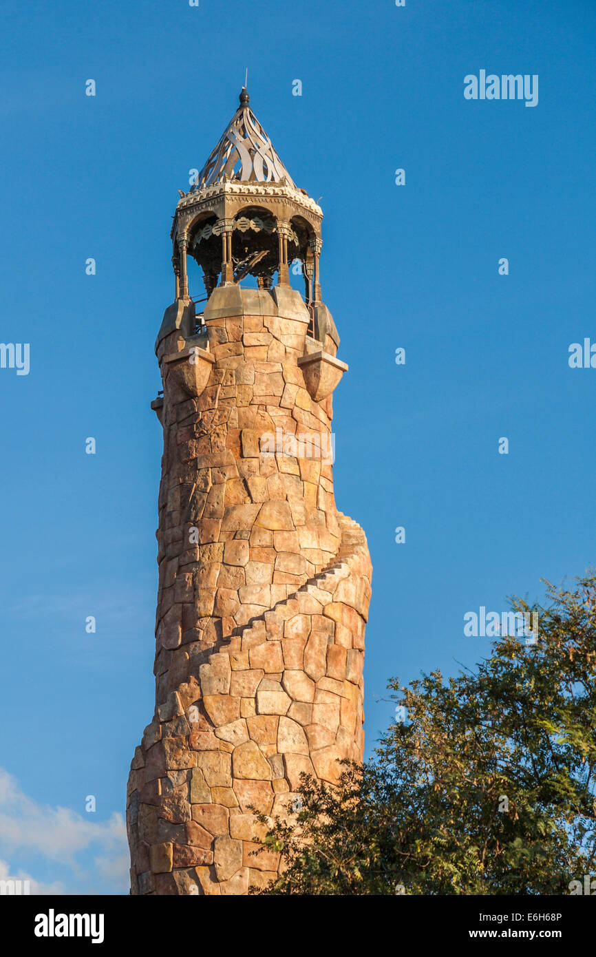 Stone tower at the Port of Entry in Universal Studios Islands of Adventure theme park in Orlando, Florida - Stock Image