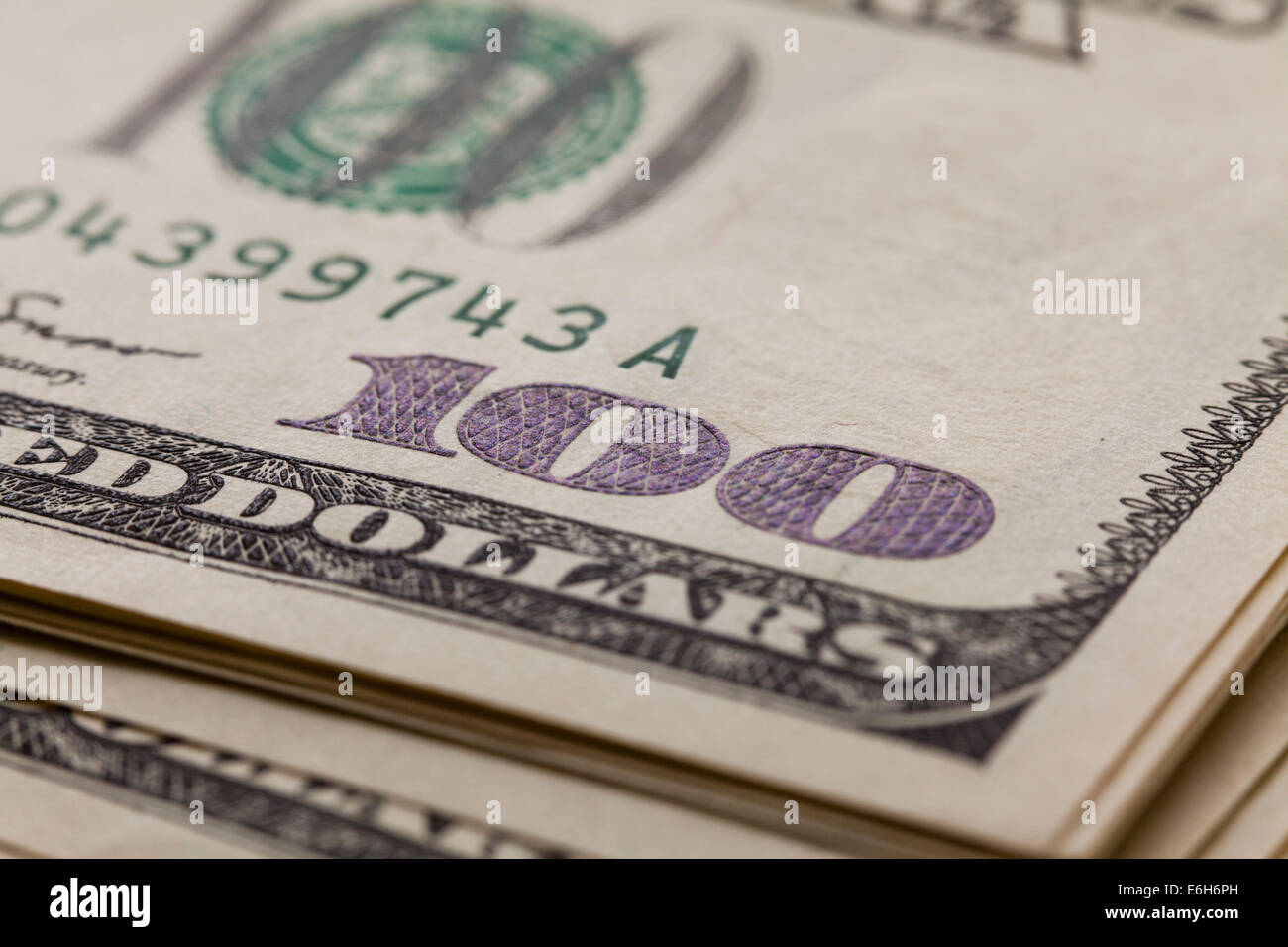 US one hundred dollar note closeup - Stock Image