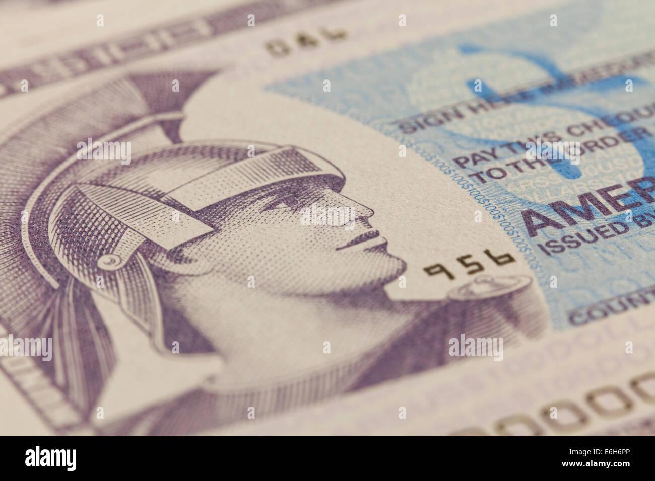 American Express travelers checque closeup - Stock Image