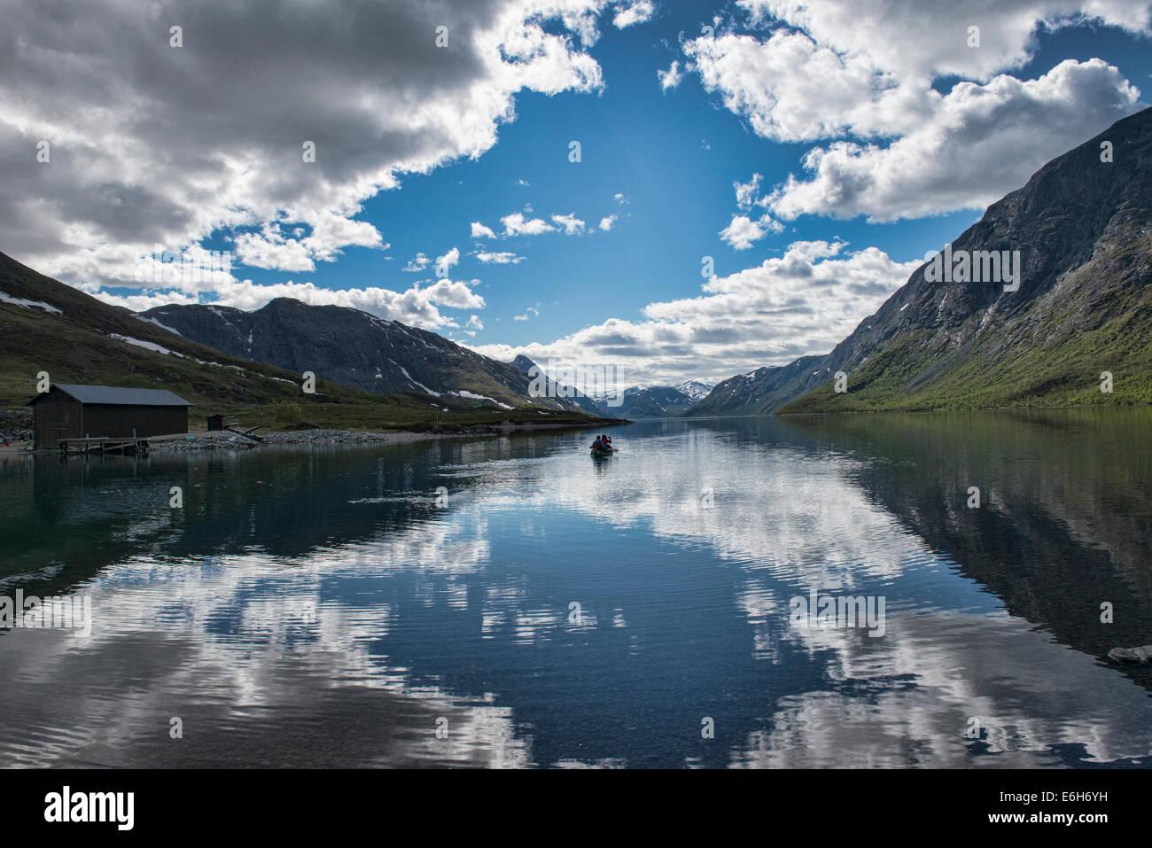 canoeing in Jotunheimen National Park, Norway - Stock Image