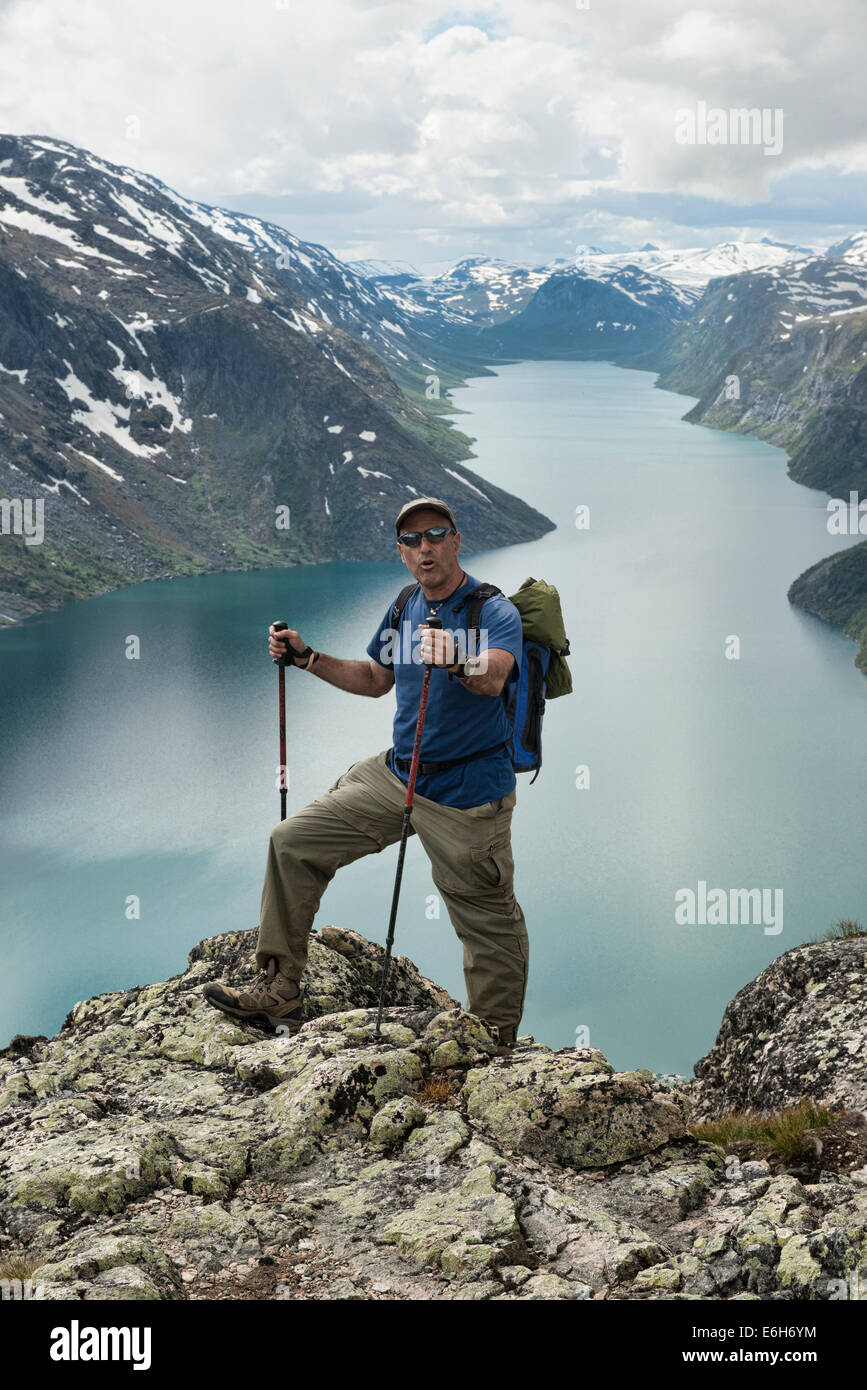 Hiker on the Besseggen Ridge trek in Jotunheimen National Park, Norway - Stock Image