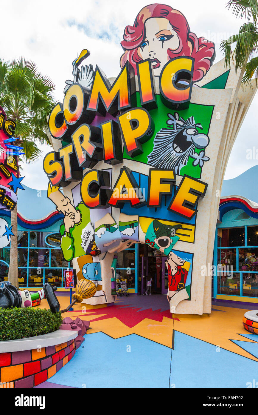 Comic Strip Cafe in Toon Lagoon at Universal Studios Islands of Adventure in Orlando, Florida - Stock Image
