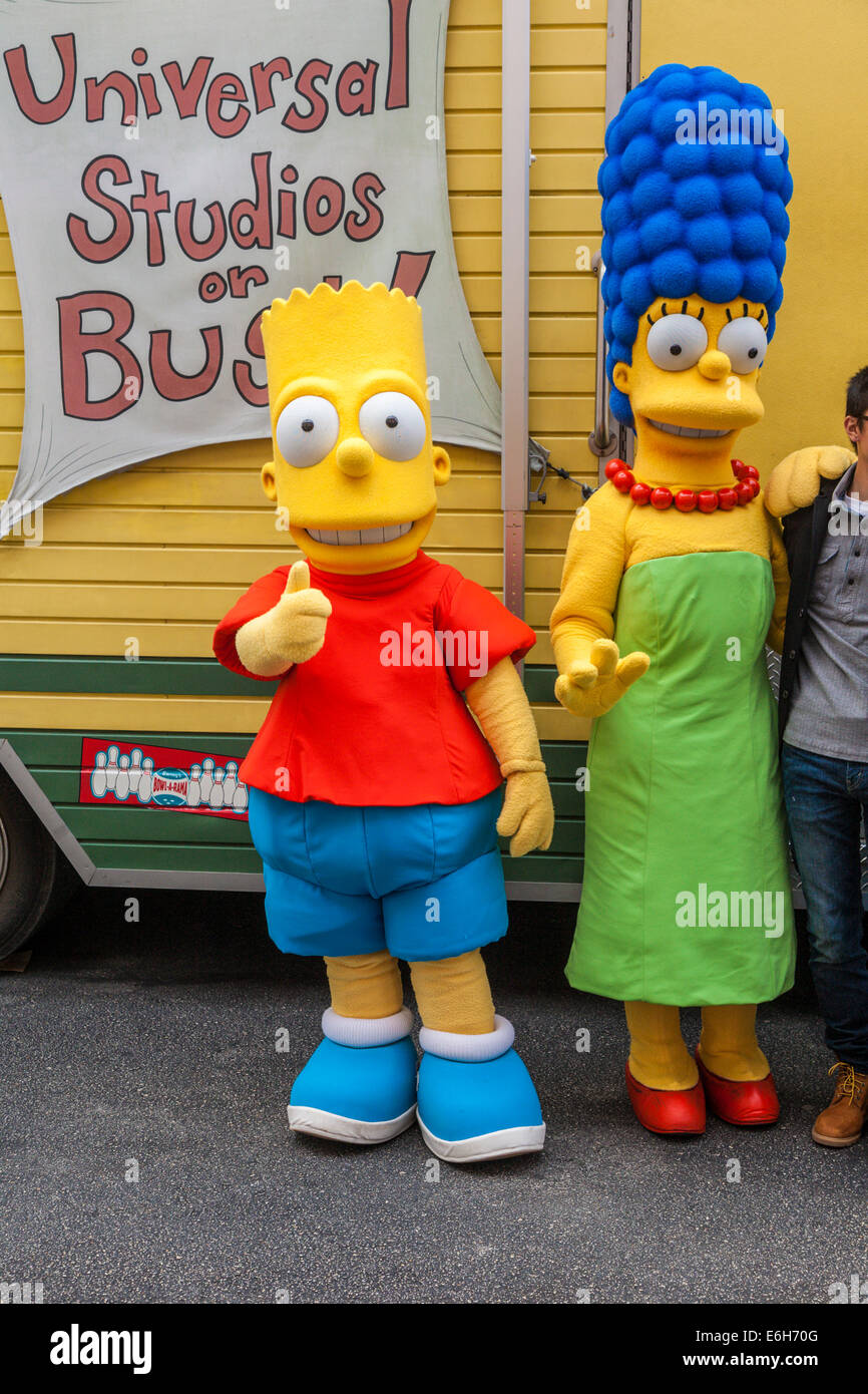 Bart Simpson television character giving 'thumbs up' sign with Marge Simpson at Universal Studios in Orlando - Stock Image