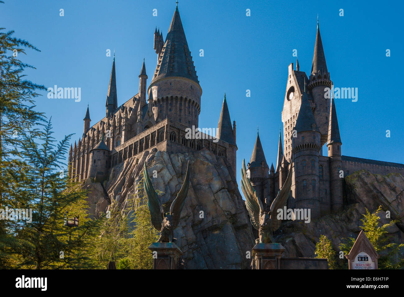 Spires of Hogwarts Castle rise into the sky in The Wizzarding World of Harry Potter at Universal Studios, Orlando, - Stock Image
