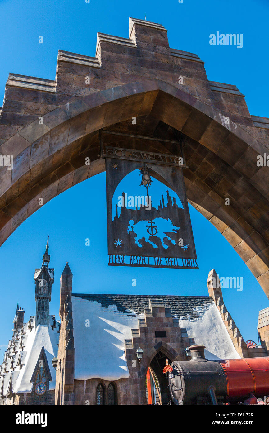 Please respect the spell limits' sign hangs from arch in The Wizzarding World of Harry Potter in Universal Studios, - Stock Image