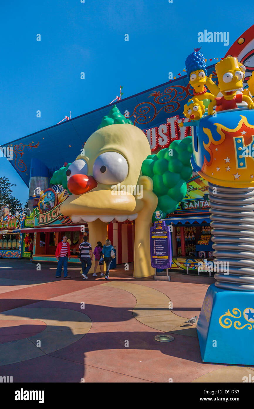 Entrance to Krustyland and The Simpsons ride at Universal Studios theme park in Orlando, Florida - Stock Image