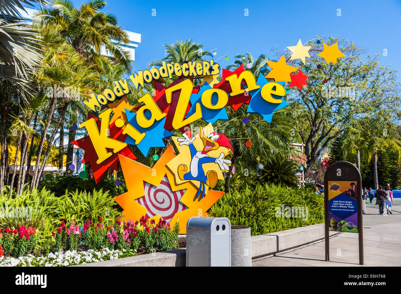 Sign at entrance to Woody Woodpecker's Kid Zone at Universal Studios in Orlando Florida - Stock Image