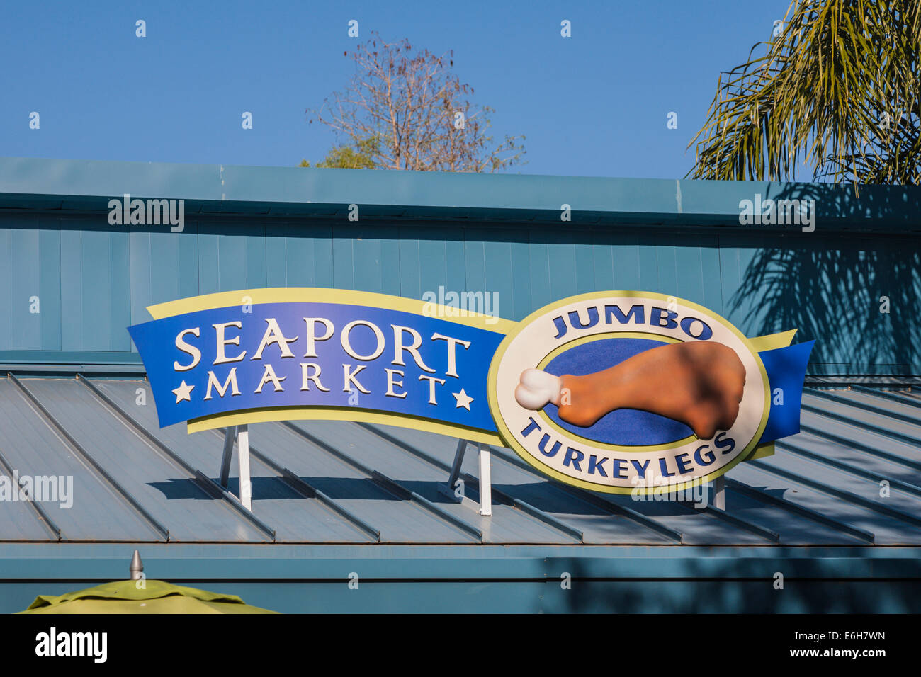 Sign for Seaport Market concession selling Jumbo Turkey Legs in Sea World, Orlando, Florida - Stock Image