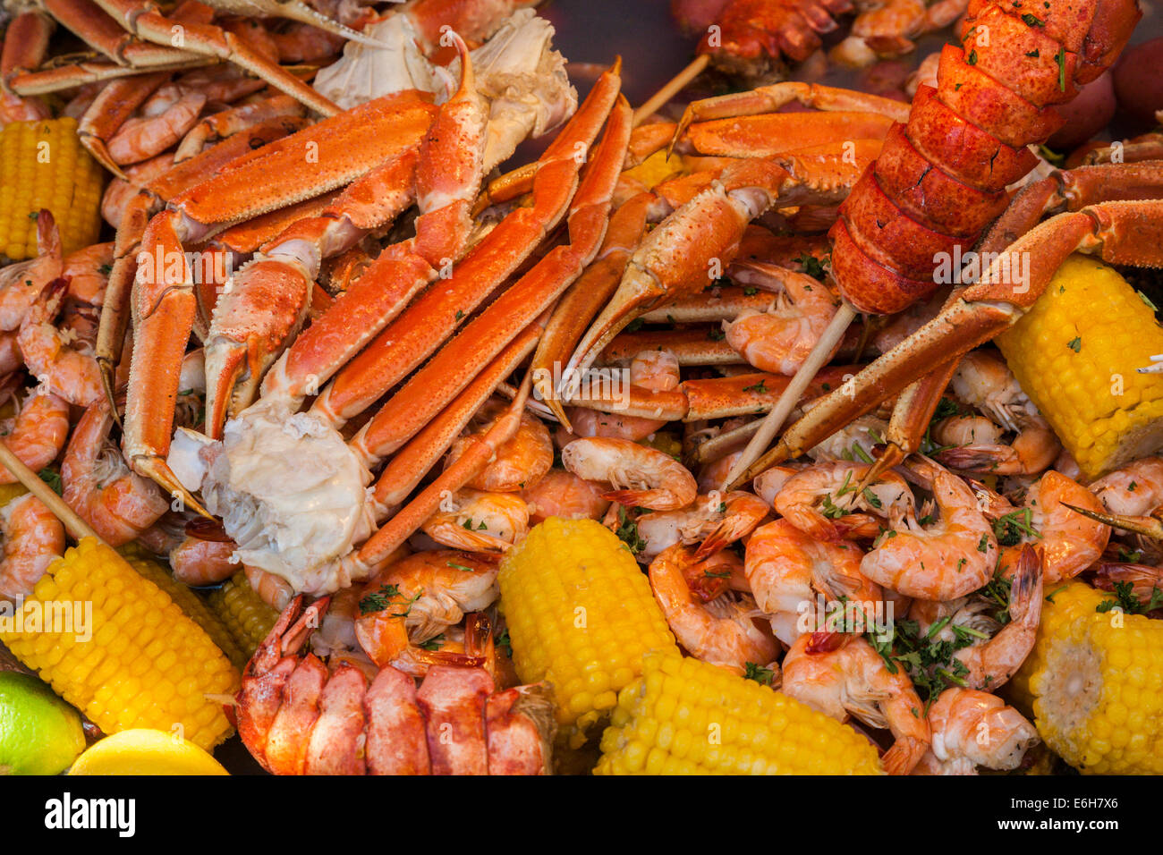Cajun seafood low country boil with corn, shrimp and crab legs Stock Photo: 72908814 - Alamy