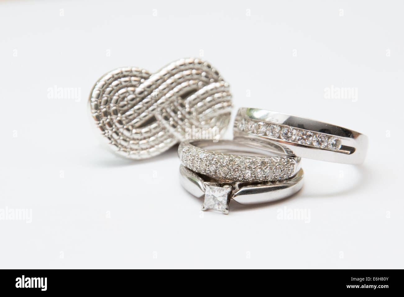 White Gold And Diamond Wedding Bands An Engagement Ring Are