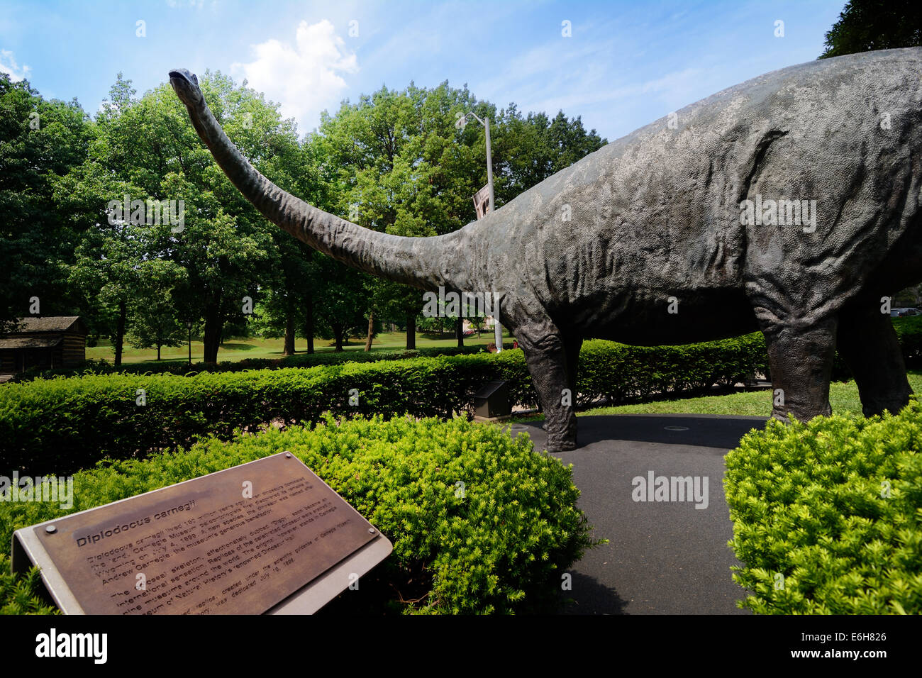 "The ""Dippy"" sculpture of a Diplodocus dinosaur greets visitors to the Carnegie Museum of Natural History in Pittsburgh, Stock Photo"