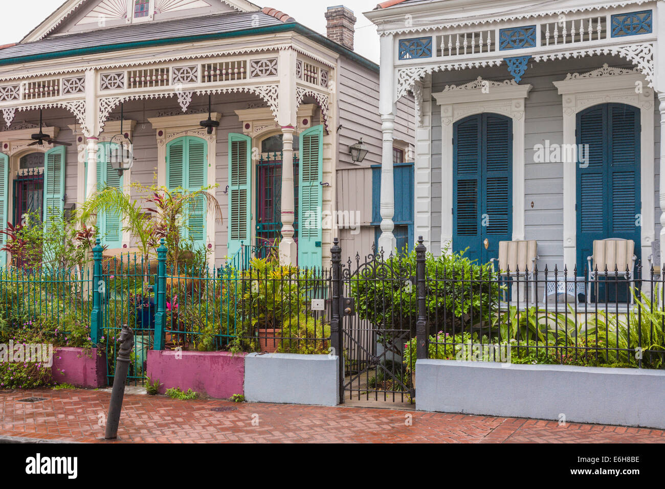 Typical duplex homes in the residential area of the French Quarter of New Orleans, Louisiana - Stock Image