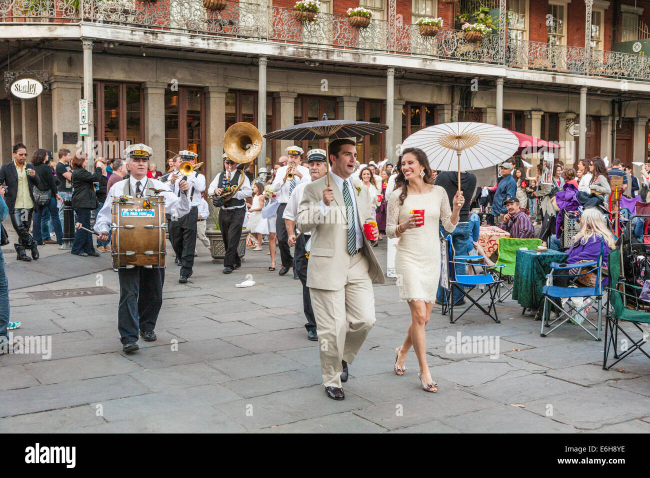 Wedding March With Jazz Band On Jackson Square In The French Quarter