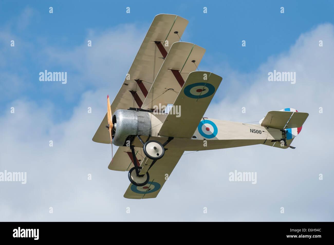 Dunsfold Aerodrome, Surrey UK. Saturday 23rd August 2014. Nieuport 17 WW1 bi-plane flying in the Great War Display - Stock Image