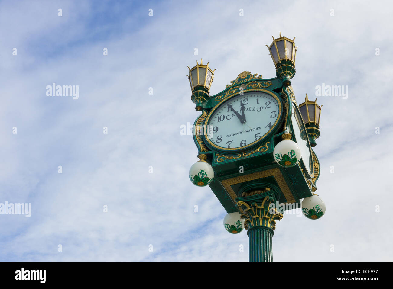 Antique clock at Lake Union Park outside of Museum of History and Industry - Stock Image
