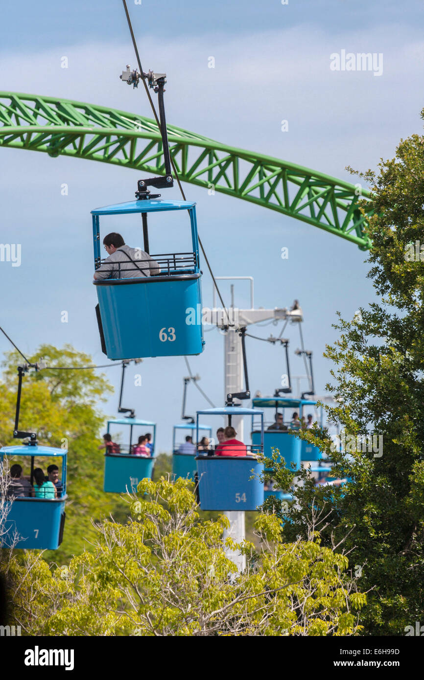 Park Guests Riding The Skyride Cable Cars Past The Cheetah Hunt Roller  Coaster At Busch Gardens