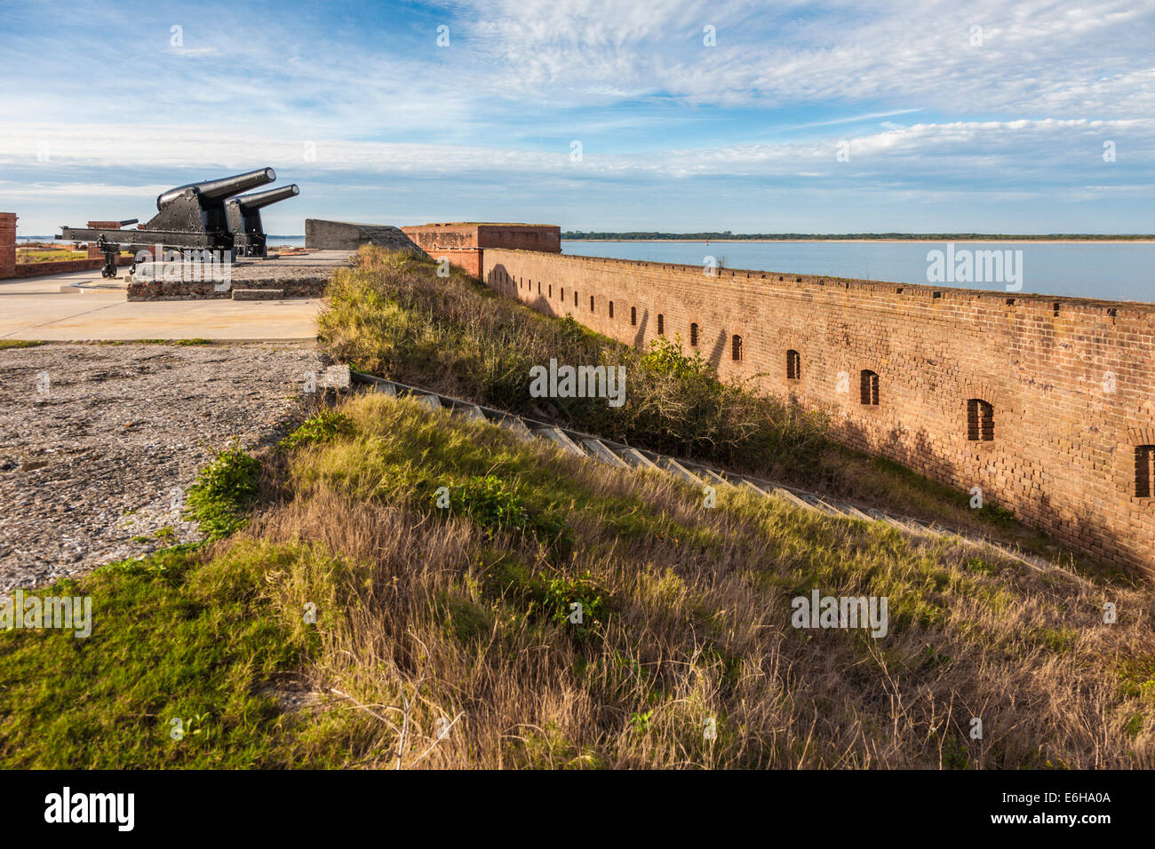 Exterior masonry walls and cannon at Fort Clinch in Fort Clinch State Park at Fernandina Beach, Florida - Stock Image