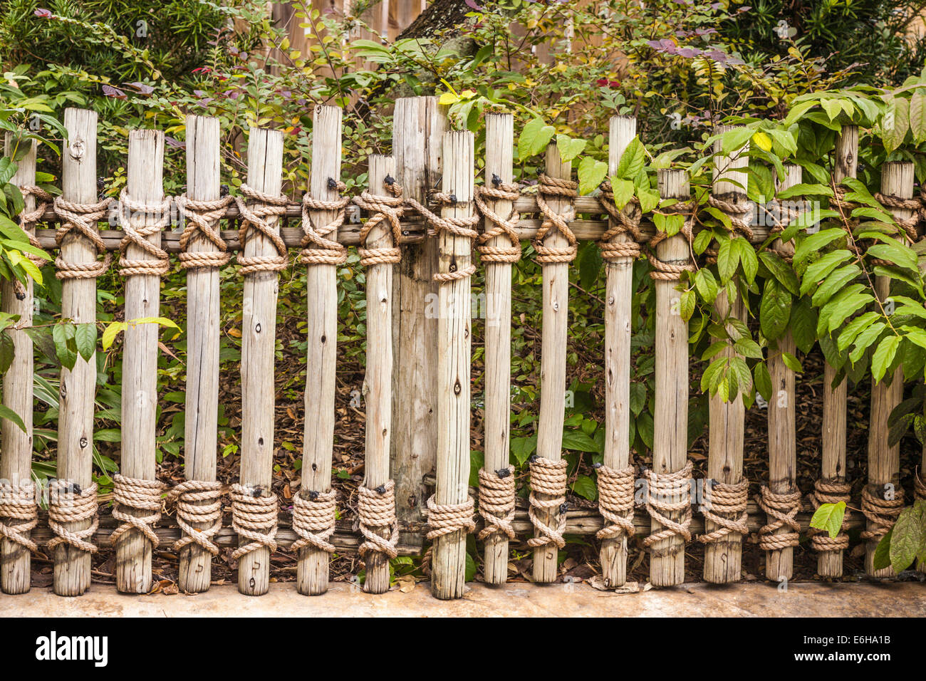 Wooden fence tied with rope at Busch Gardens in Tampa, Florida, USA ...