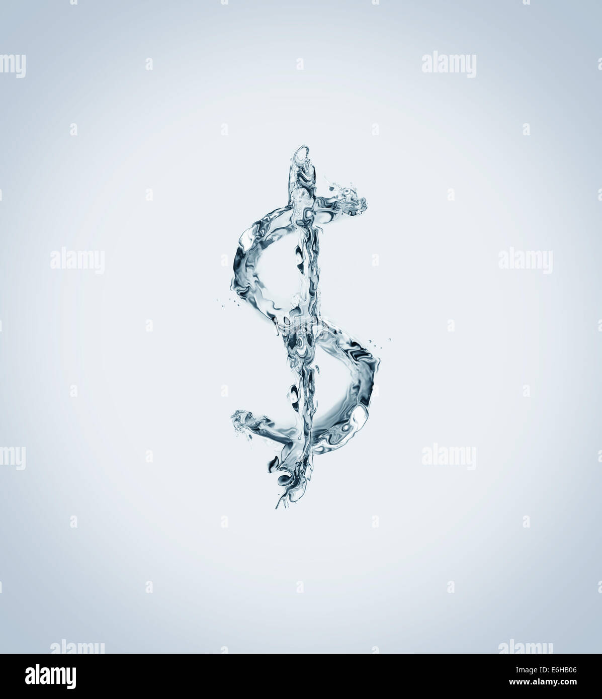 The US dollar currency symbol made of water. - Stock Image