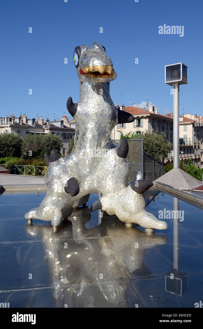 Loch Ness Monster Sculpture & Fountain (1993) by Niki de Saint Phalle in front of the Modern Art Museum MAMAC - Stock Image