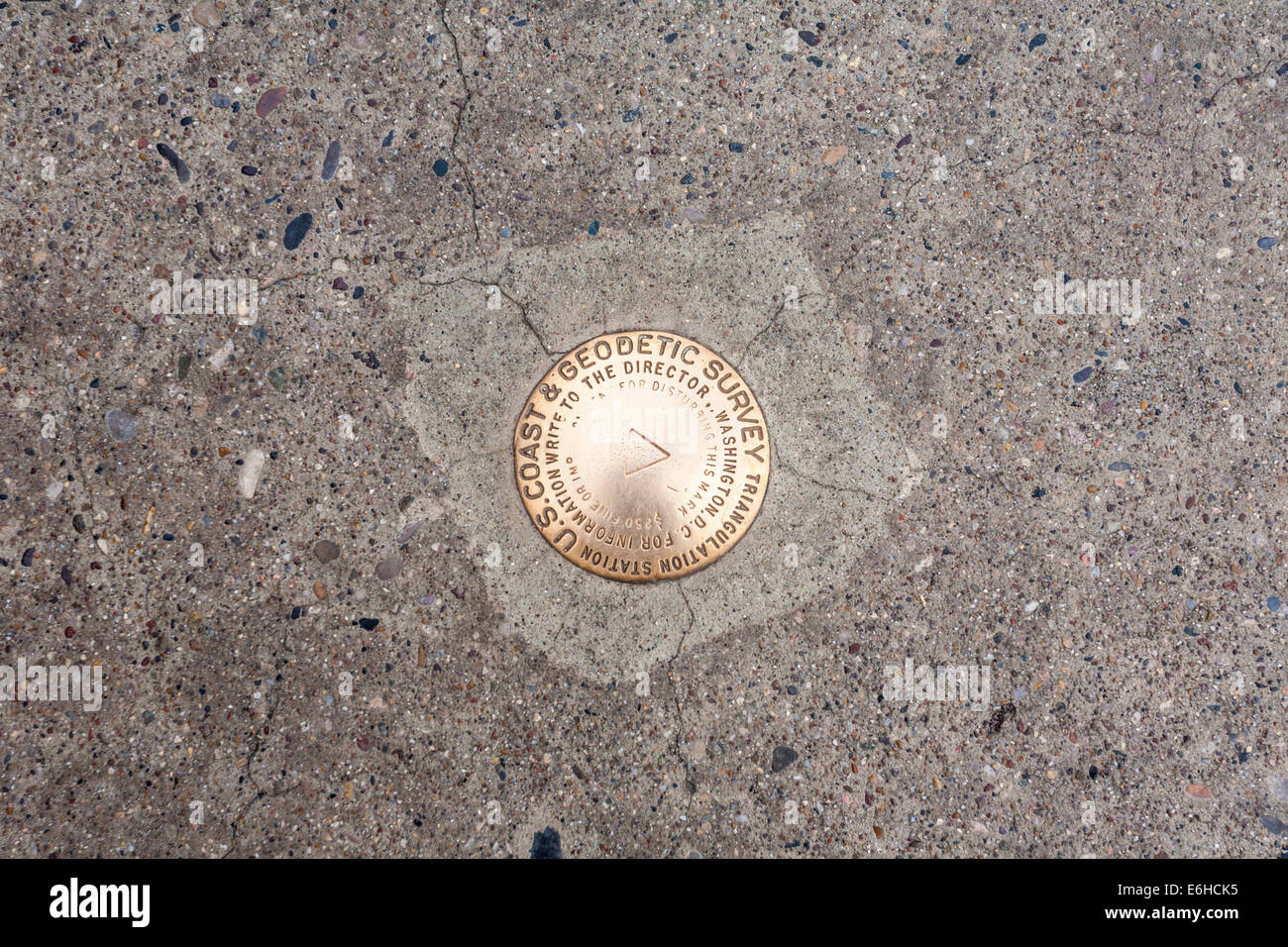 USGS survey marker at Hoover Dam in the Black Canyon of the Colorado River near Boulder City, Nevada - Stock Image