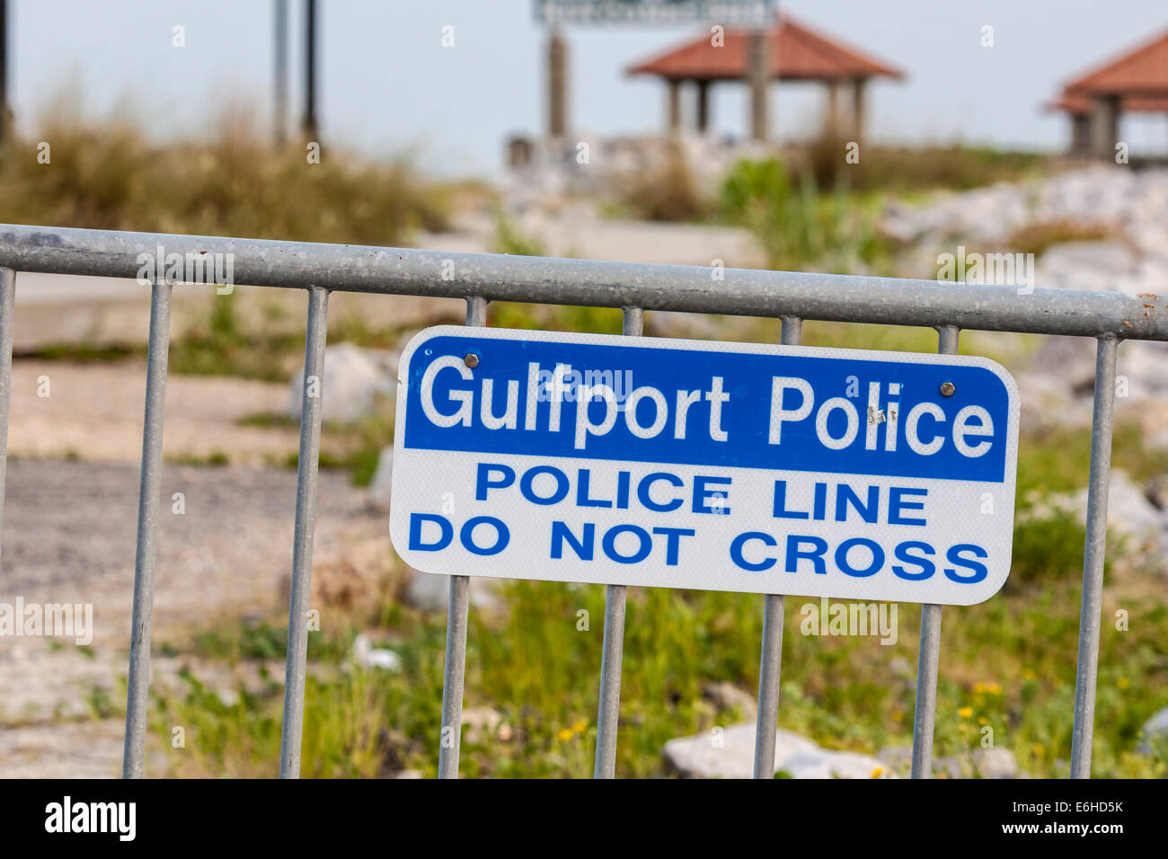 Warning sign to keep visitors out of area damaged by hurricane in Gulfport, Mississippi - Stock Image
