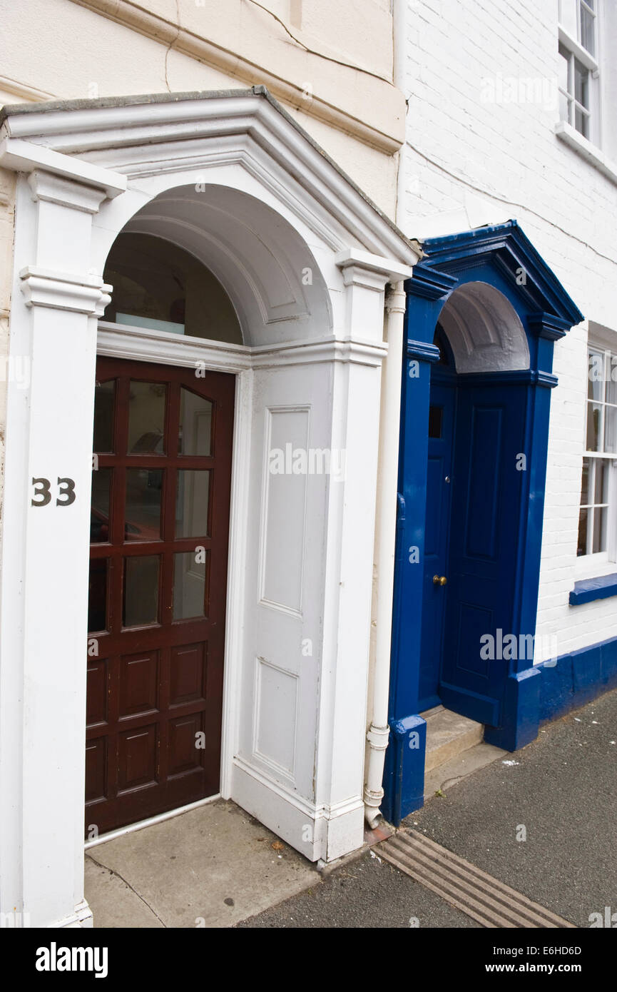 Brown number 33 u0026 blue front doors of period houses in Brecon Powys Wales UK & Brown number 33 u0026 blue front doors of period houses in Brecon Powys ...