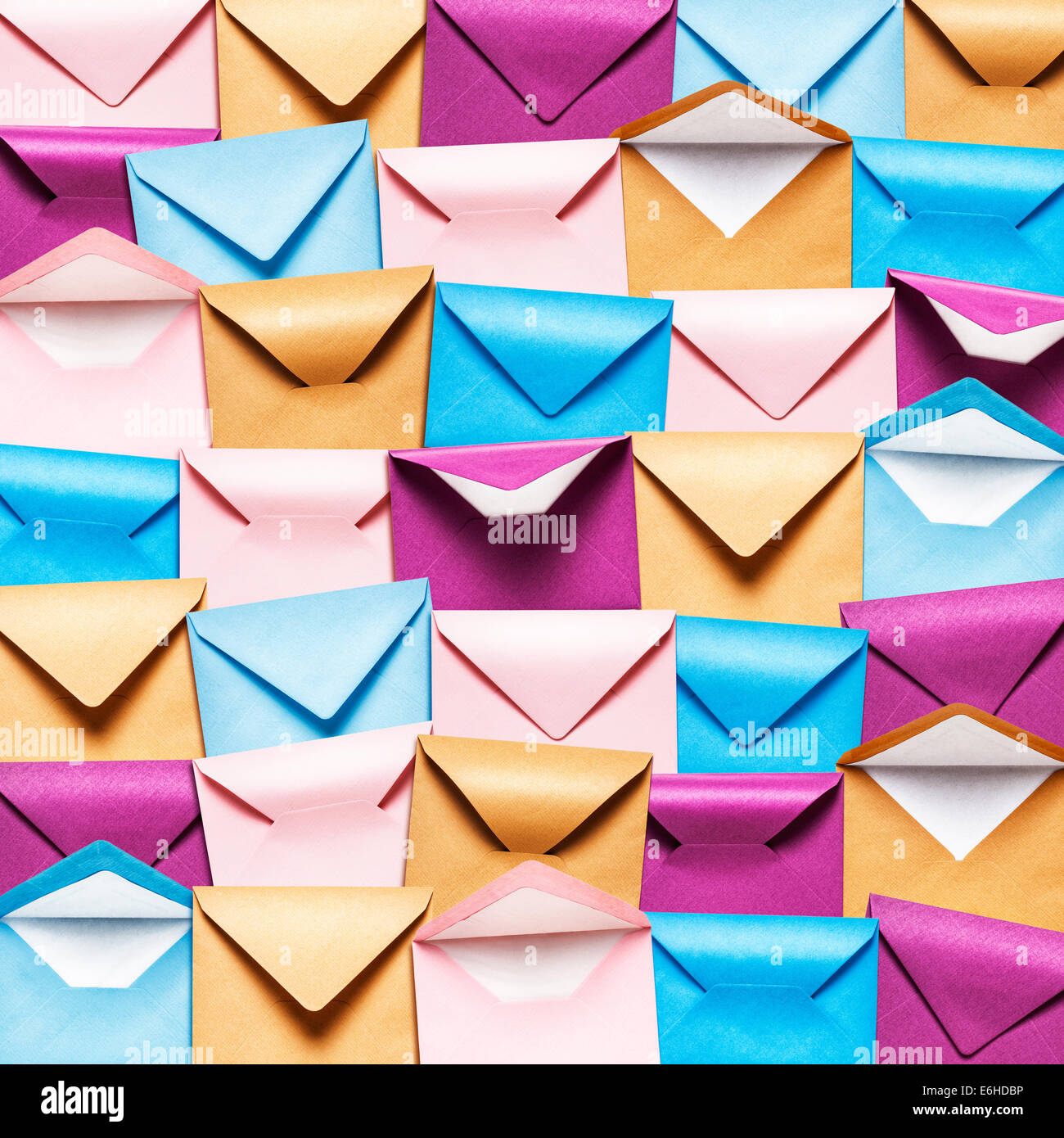 Background with rows of colorful envelopes, Pink, blue and brown envelope collection. - Stock Image