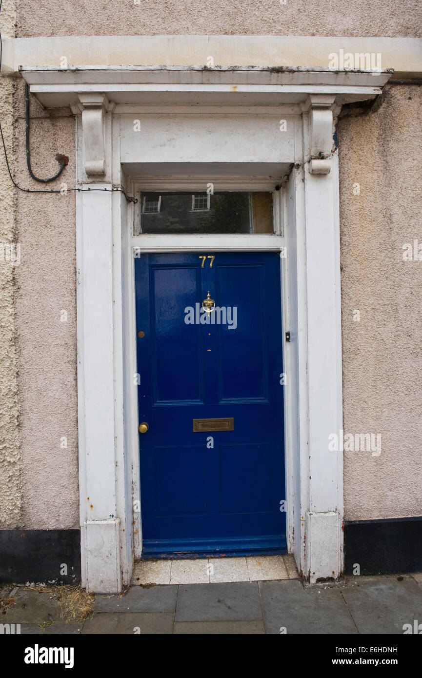 Blue Number 77 Wooden Front Door Of Period Terraced House In Brecon Powys  Wales UK