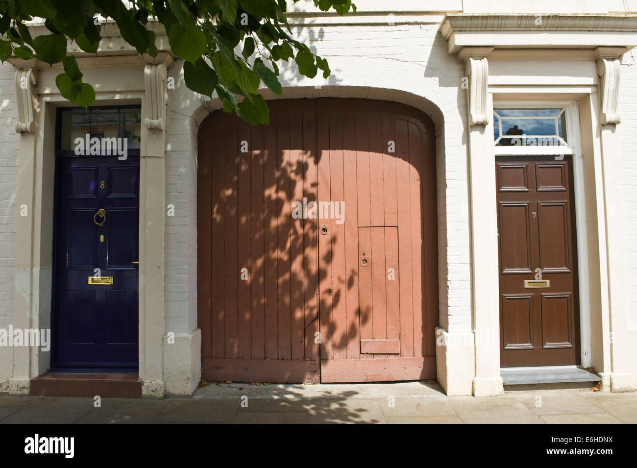 Blue Brown Wooden Front Doors With Carriage Entrance Of Period