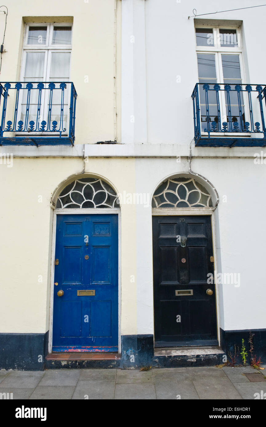 Blue Black Wooden Front Doors Of Period Terraced Houses In Brecon