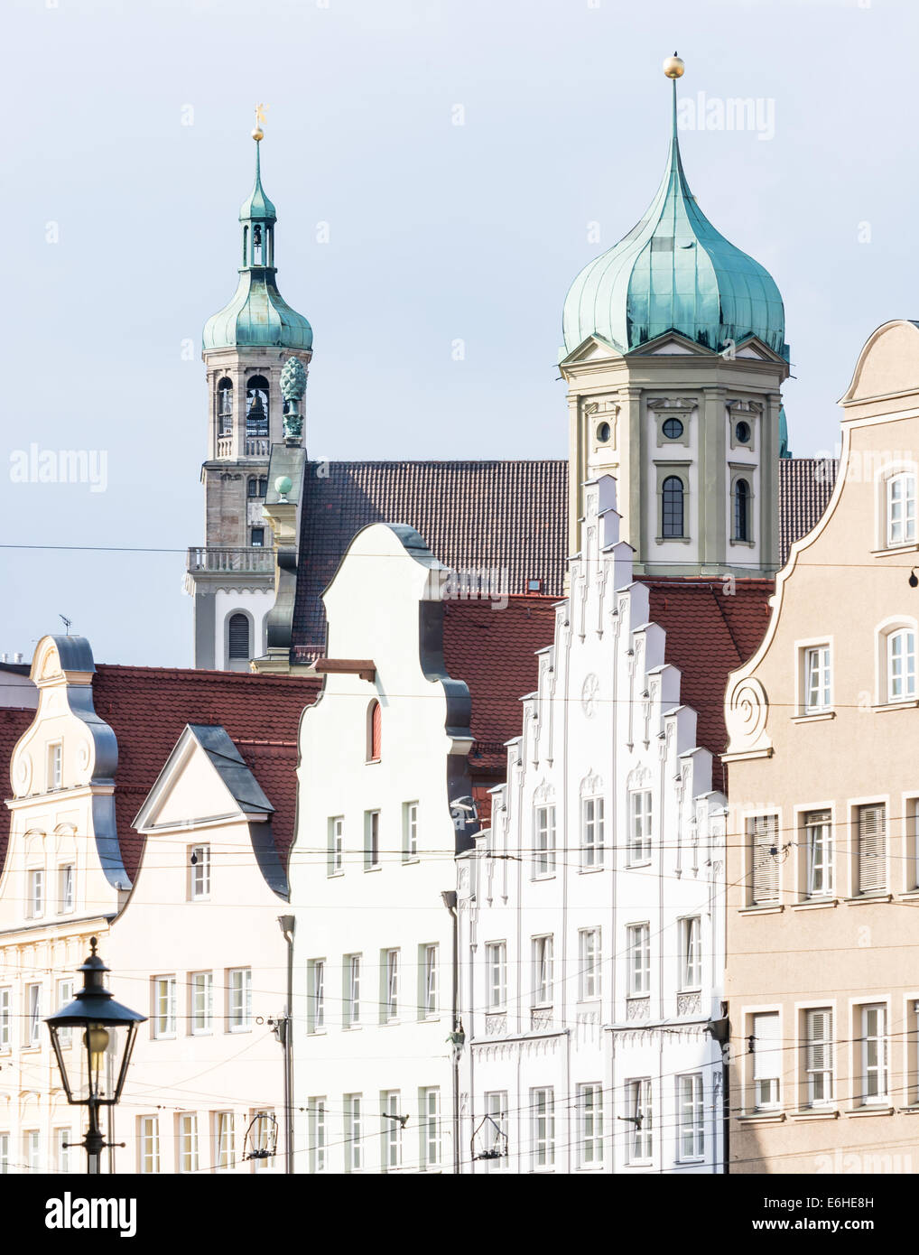 Historic renaissance town hall of Augsburg and the Perlach tower - Stock Image