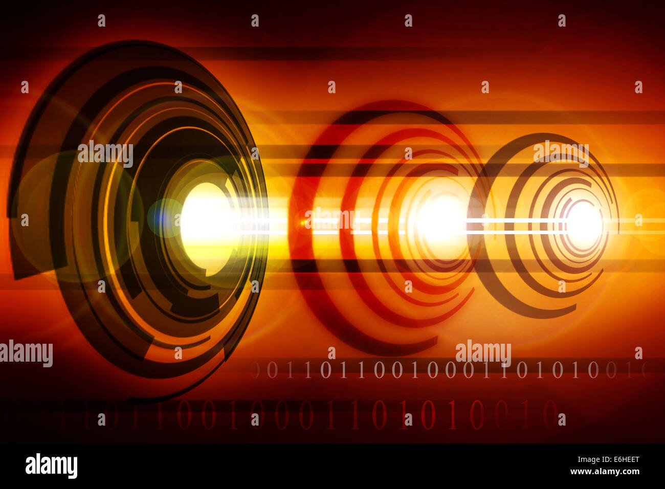 An abstract laser core with beams  and flairs. - Stock Image