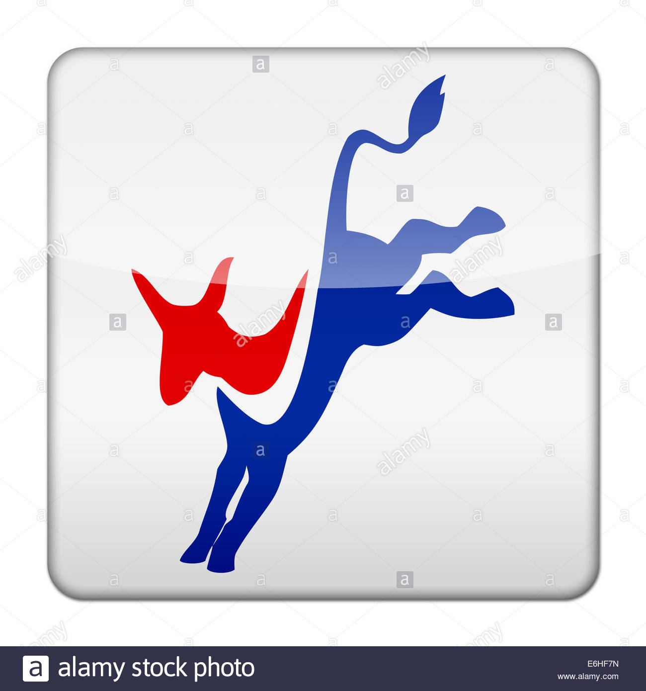 Democratic Party logo icon isolated app button - Stock Image
