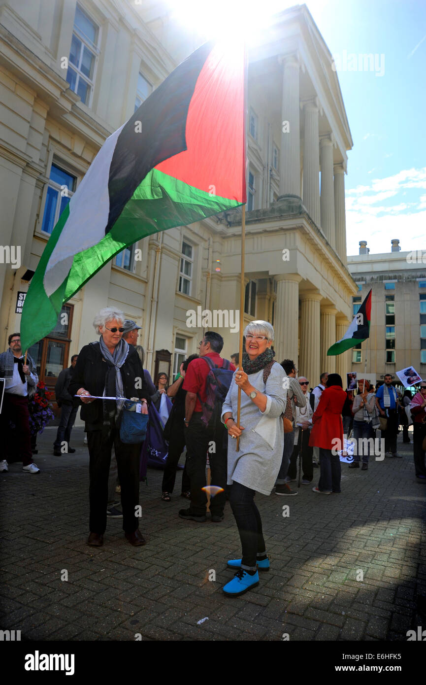 Pro Palestinian supporters take part in the Rally for Gaza event in Brighton city centre today Organised by Brighton - Stock Image
