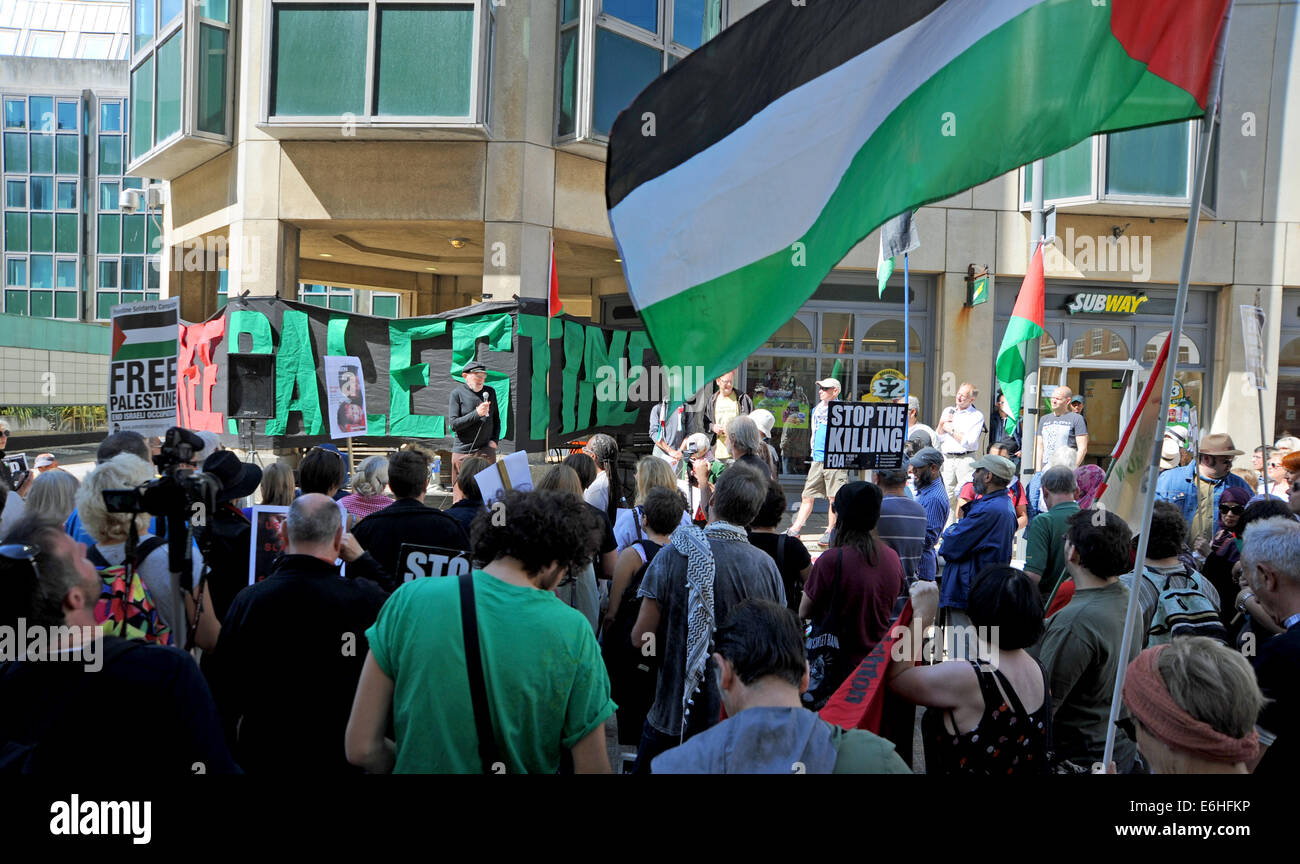 Brighton Sussex UK 24 August 2014 - Pro Palestinian supporters take part in the Rally for Gaza event in Brighton - Stock Image
