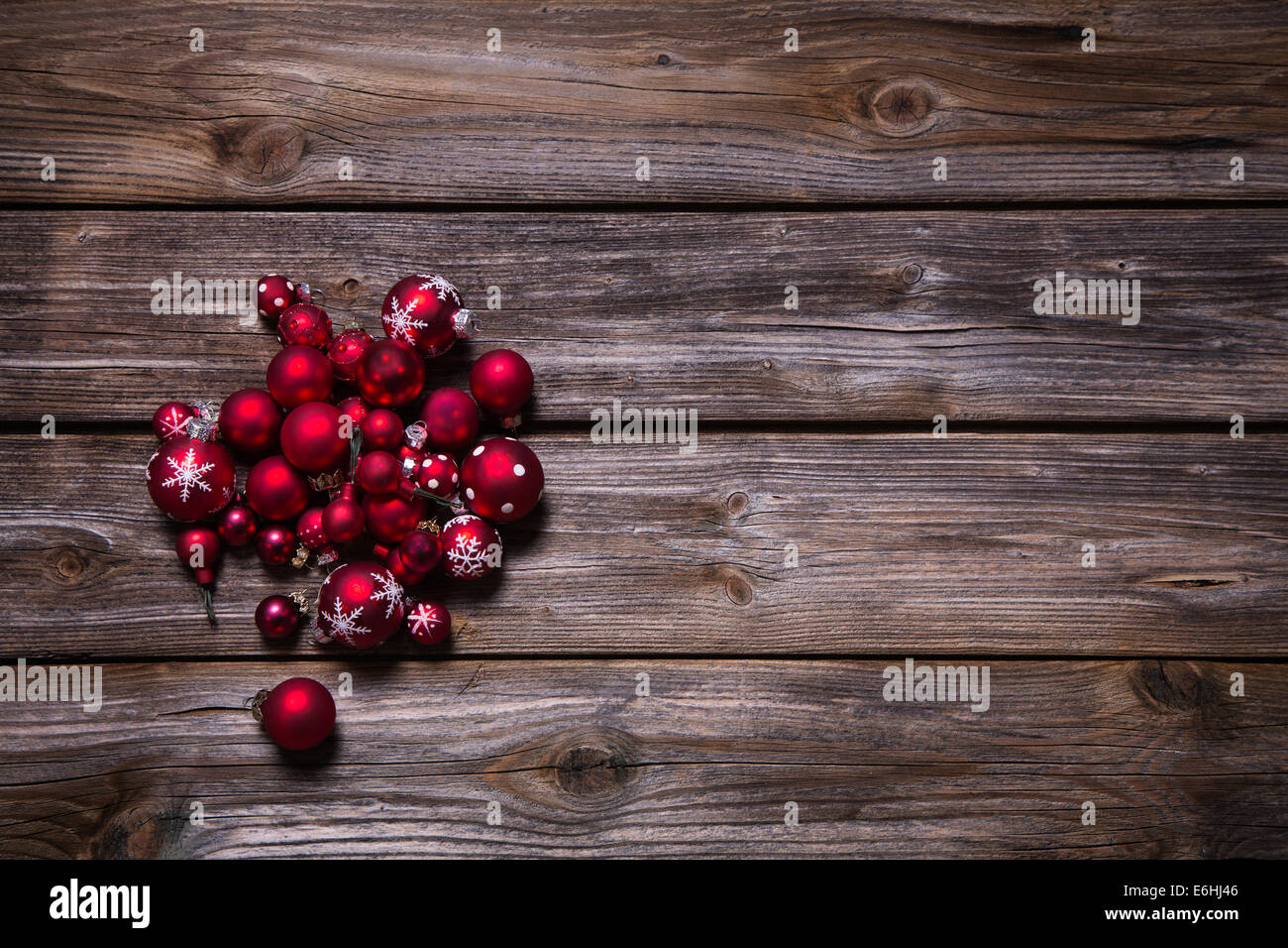 Christmas Decoration Red Balls On Old Wooden Rustic Country Stock