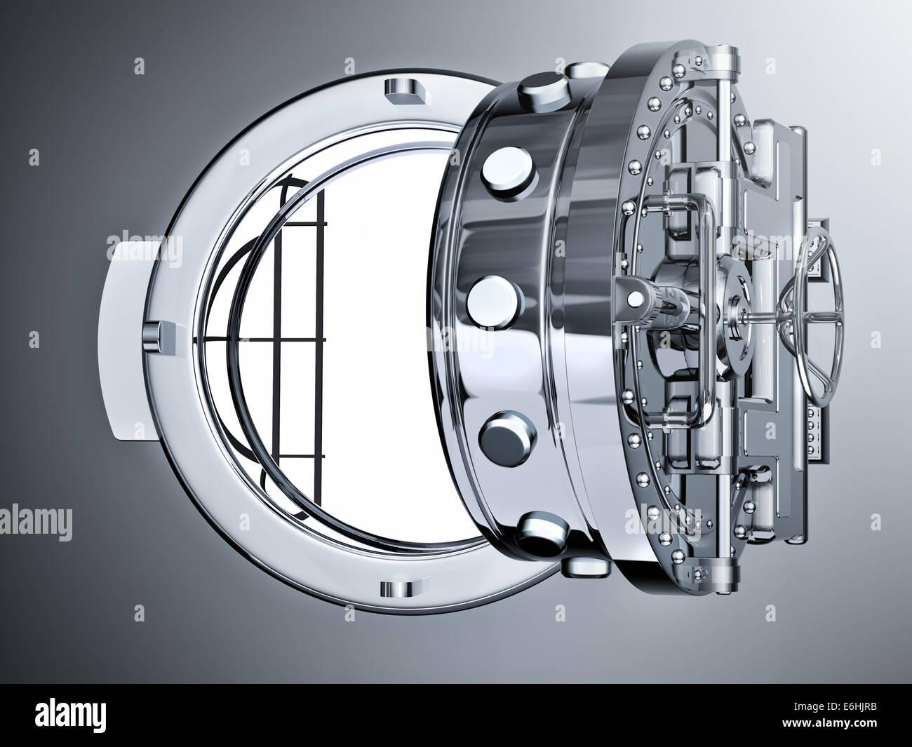 Open Bank Vault Door - 3d render - Stock Image