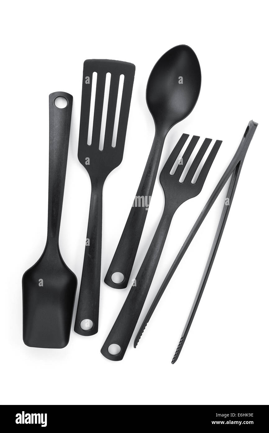 Plastic Kitchen Utensils. Isolated On White Background